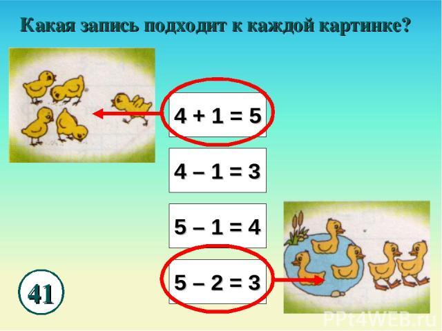 41 Какая запись подходит к каждой картинке? 4 + 1 = 5 4 – 1 = 3 5 – 1 = 4 5 – 2 = 3