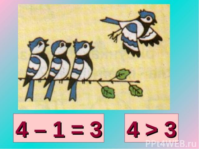 4 – 1 = 3 4 > 3