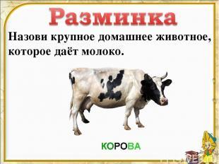 Назови крупное домашнее животное, которое даёт молоко.
