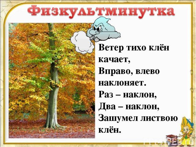 Ветер тихо клён качает, Вправо, влево наклоняет. Раз – наклон, Два – наклон, Зашумел листвою клён.