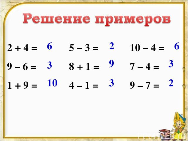 2 + 4 = 9 – 6 = 1 + 9 = 5 – 3 = 8 + 1 = 4 – 1 = 10 – 4 = 7 – 4 = 9 – 7 = 6 3 10 2 9 3 6 3 2
