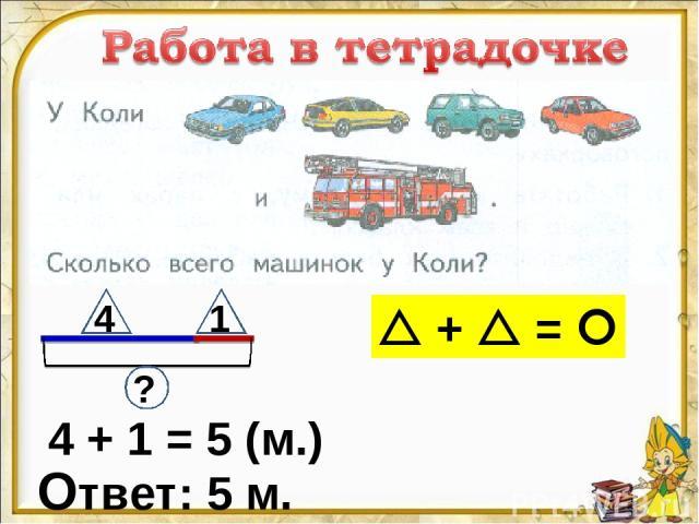4 + 1 = 5 (м.) Ответ: 5 м. 4 1 ? + =
