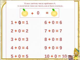 1 + 0 = 1 2 + 0 = 2 3 + 0 = 3 4 + 0 = 4 5 + 0 = 5 6 + 0 = 6 7 + 0 = 7 8 + 0 = 8