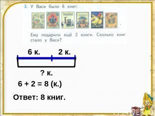 6 к. 2 к. ? к. 6 + 2 = 8 (к.) Ответ: 8 книг.