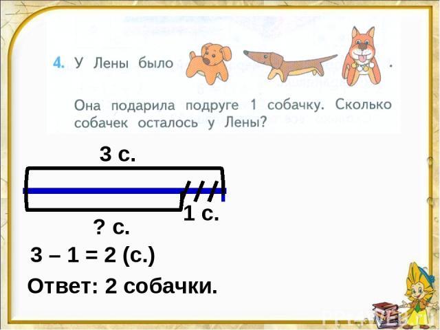 3 с. 1 с. ? с. 3 – 1 = 2 (с.) Ответ: 2 собачки.