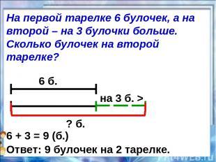 6 б. на 3 б. > ? б. 6 + 3 = 9 (б.) Ответ: 9 булочек на 2 тарелке. На первой таре