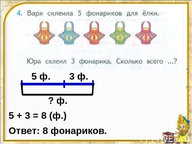 5 ф. 3 ф. ? ф. 5 + 3 = 8 (ф.) Ответ: 8 фонариков.
