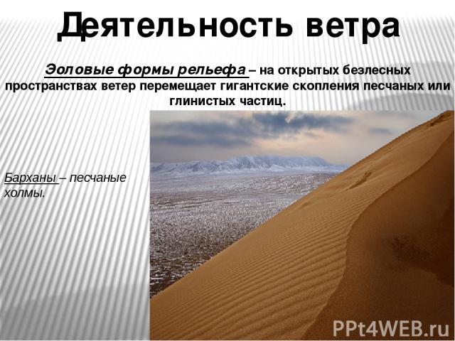 Деятельность ветра Эоловые формы рельефа – на открытых безлесных пространствах ветер перемещает гигантские скопления песчаных или глинистых частиц. Барханы – песчаные холмы.