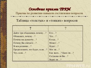 Основные приемы ТРКМ Приемы по развитию навыков составления вопросов Таблица «то