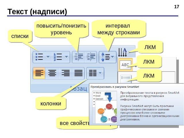 Текст (надписи) * списки повысить/понизить уровень интервал между строками колонки все свойства абзаца ЛКМ ЛКМ ЛКМ