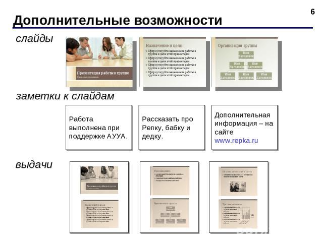 Дополнительные возможности * слайды выдачи заметки к слайдам Рассказать про Репку, бабку и дедку. Дополнительная информация – на сайте www.repka.ru Работа выполнена при поддержке АУУА.