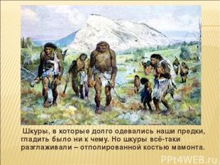 Шкуры, в которые долго одевались наши предки, гладить было ни к чему. Но шкуры в