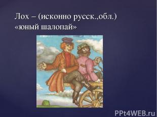 Лох – (исконно русск.,обл.) «юный шалопай»