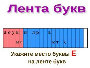 Укажите место буквы Е на ленте букв е а о у ы н л р в и к т с