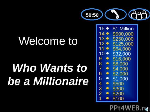 15 14 13 12 11 10 9 8 7 6 5 4 3 2 1 $1 Million $500,000 $250,000 $125,000 $64,000 $32,000 $16,000 $8,000 $4,000 $2,000 $1,000 $500 $300 $200 $100 Welcome to Who Wants to be a Millionaire 50:50 © Mark E. Damon - All Rights Reserved
