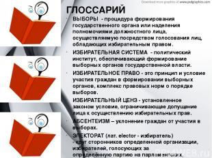 ГЛОССАРИЙ ВЫБОРЫ - процедура формирования государственного органа или наделения