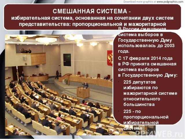 СМЕШАННАЯ СИСТЕМА- избирательная система, основанная на сочетании двухсистем представительства: пропорциональной и мажоритарной Зал пленарных заседаний Госдумы РФ В России смешанная система выборов в Государственную Думу использовалась до 2003 год…
