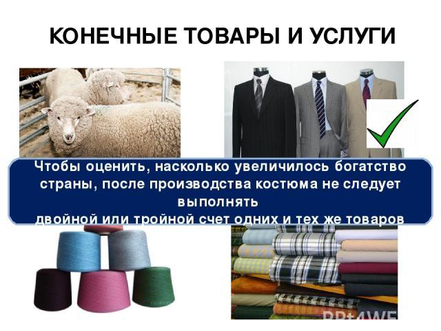 КОНЕЧНЫЕ ТОВАРЫ И УСЛУГИ Чтобы оценить, насколько увеличилось богатство страны, после производства костюма не следует выполнять двойной или тройной счет одних и тех же товаров