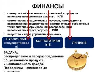 совокупность экономических отношений в процессе использования денежных средств;