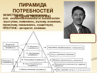 ПИРАМИДА ПОТРЕБНОСТЕЙ (вторая типология) МАСЛОУ АБРАХАМ (1908-1970). Американски