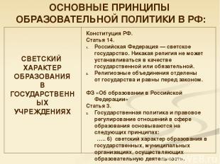 ОСНОВНЫЕ ПРИНЦИПЫ ОБРАЗОВАТЕЛЬНОЙ ПОЛИТИКИ В РФ: СВЕТСКИЙ ХАРАКТЕР ОБРАЗОВАНИЯ В