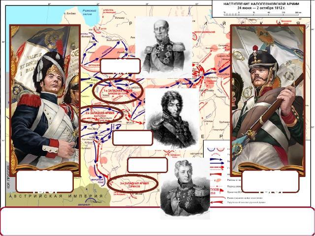 12 (24) июня 1812 года – Наполеон начал переправу через Неман (начало Отечественной войны). 45 тыс. 120 тыс. 49 тыс. 650 тыс. 317 тыс. На слайде: Картина неизвестного художника