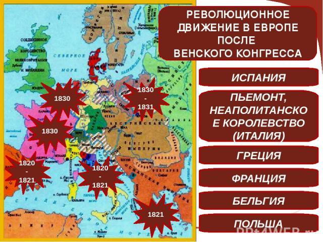 1820-1821 1821 1820-1821 1830 1830 1830-1831 ИСПАНИЯ ПЬЕМОНТ, НЕАПОЛИТАНСКОЕ КОРОЛЕВСТВО (ИТАЛИЯ) ГРЕЦИЯ ФРАНЦИЯ БЕЛЬГИЯ ПОЛЬША РЕВОЛЮЦИОННОЕ ДВИЖЕНИЕ В ЕВРОПЕ ПОСЛЕ ВЕНСКОГО КОНГРЕССА