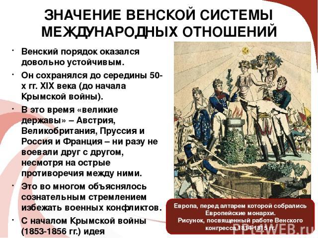 Венский порядок оказался довольно устойчивым. Он сохранялся до середины 50-х гг. XIX века (до начала Крымской войны). В это время «великие державы» – Австрия, Великобритания, Пруссия и Россия и Франция – ни разу не воевали друг с другом, несмотря на…