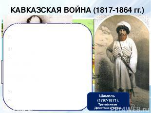 КАВКАЗСКАЯ ВОЙНА (1817-1864 гг.) А.И.Барятинский. Командующий войсками на Кавказ