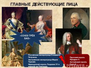 ГЛАВНЫЕ ДЕЙСТВУЮЩИЕ ЛИЦА Российская императрица Елизавета Петровна. Австрийская