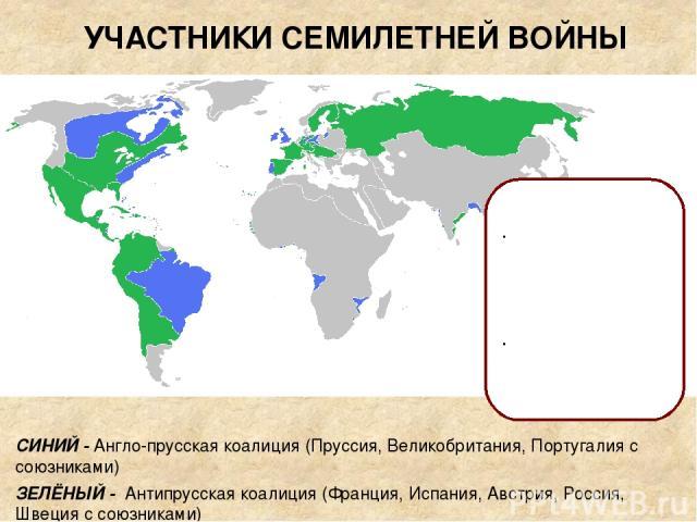 СИНИЙ - Англо-прусская коалиция (Пруссия, Великобритания, Португалия с союзниками) ЗЕЛЁНЫЙ - Антипрусская коалиция (Франция, Испания, Австрия, Россия, Швеция с союзниками) УЧАСТНИКИ СЕМИЛЕТНЕЙ ВОЙНЫ ПРИЧИНЫ ВОЙНЫ: борьба за гегемонию в Центральной…