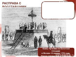 РАСПРАВА С ВОССТАВШИМИ Казнь Пугачёва на Болотной площади в Москве 10 января 177