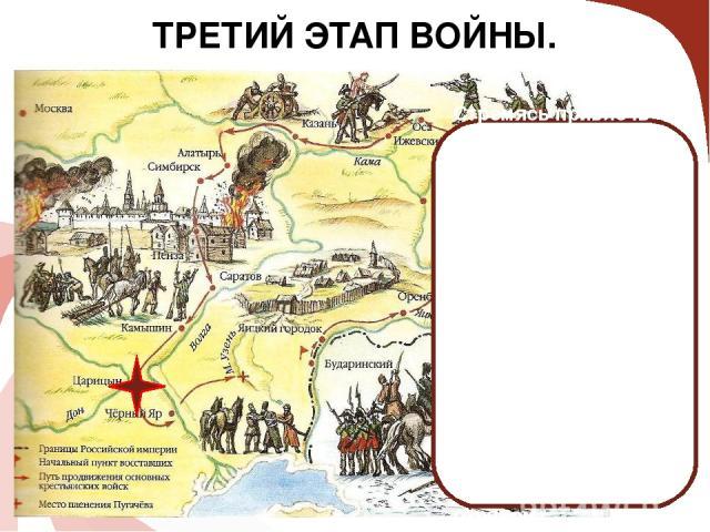 ТРЕТИЙ ЭТАП ВОЙНЫ. Стремясь привлечь крестьян на свою сторону, Пугачёв 31 июля 1774 года издал Манифест, в котором освобождал их от крепостной зависимости и налогов. Пугачёв подошёл к Царицыну, но овладеть им не смог и был разгромлен. Пугачёв перепр…