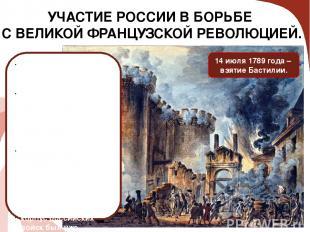 УЧАСТИЕ РОССИИ В БОРЬБЕ С ВЕЛИКОЙ ФРАНЦУЗСКОЙ РЕВОЛЮЦИЕЙ. 14 июля 1789 года – вз