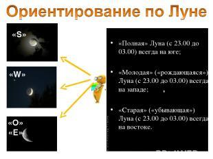 «Полная» Луна (c 23.00 до 03.00) всегда на юге; «Молодая» («рождающаяся») Луна (