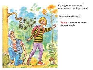 Вопрос 2 Куда (укажите азимут) показывает рукой девочка? Правильный ответ: На юг