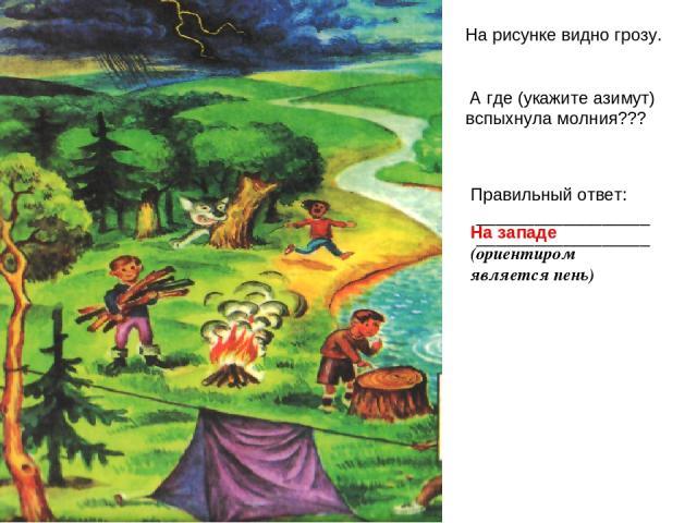 На рисунке видно грозу. А где (укажите азимут) вспыхнула молния??? Правильный ответ: ____________________________________ На западе (ориентиром является пень)