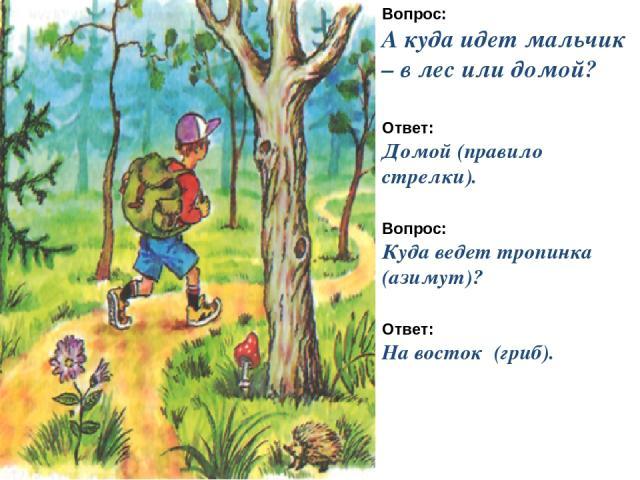 Вопрос: А куда идет мальчик – в лес или домой? Ответ: Домой (правило стрелки). Вопрос: Куда ведет тропинка (азимут)? Ответ: На восток (гриб).