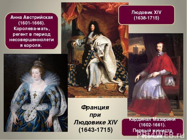 Франция при Людовике XIV (1643-1715) Кардинал Мазарини (1602-1661). Первый министр Франции. Анна Австрийская (1601-1666). Королева-мать, регент в период несовершеннолетия короля. Людовик XIV (1638-1715)