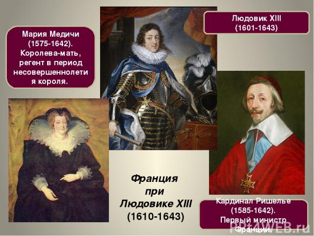 Франция при Людовике XIII (1610-1643) Людовик XIII (1601-1643) Кардинал Ришелье (1585-1642). Первый министр Франции. Мария Медичи (1575-1642). Королева-мать, регент в период несовершеннолетия короля.