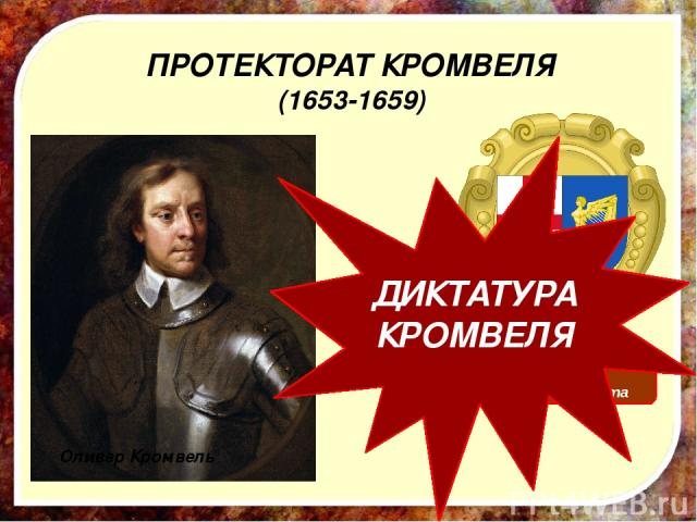 ПРОТЕКТОРАТ КРОМВЕЛЯ (1653-1659) Герб протектората Оливер Кромвель ДИКТАТУРА КРОМВЕЛЯ