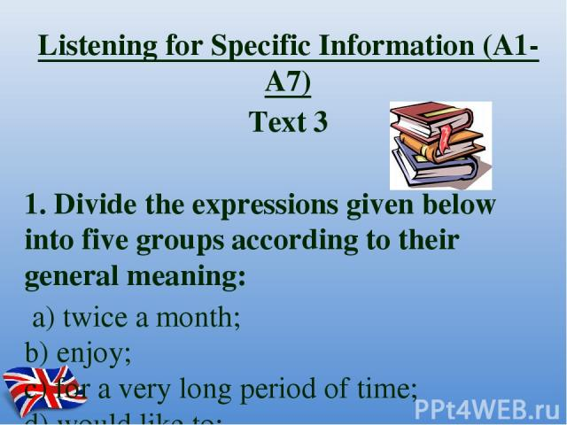 Listening for Specific Information (A1-A7) Text 3 1. Divide the expressions given below into five groups according to their general meaning: a) twice a month; b) enjoy; c) for a very long period of time; d) would like to; e) hate; f) very long;…