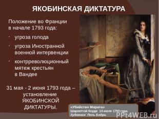 ЯКОБИНСКАЯ ДИКТАТУРА «Убийство Марата» Шарлоттой Корде 13 июля 1793 года. Художн