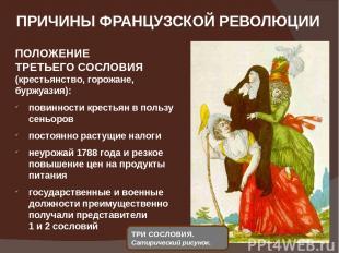 ПРИЧИНЫ ФРАНЦУЗСКОЙ РЕВОЛЮЦИИ ПОЛОЖЕНИЕ ТРЕТЬЕГО СОСЛОВИЯ (крестьянство, горожан