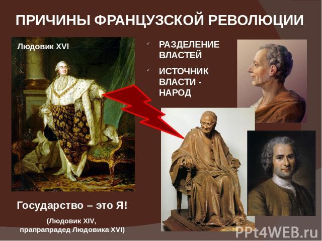 ПРИЧИНЫ ФРАНЦУЗСКОЙ РЕВОЛЮЦИИ Государство – это Я! (Людовик XIV, прапрапрадед Людовика XVI) РАЗДЕЛЕНИЕ ВЛАСТЕЙ ИСТОЧНИК ВЛАСТИ - НАРОД Людовик XVI