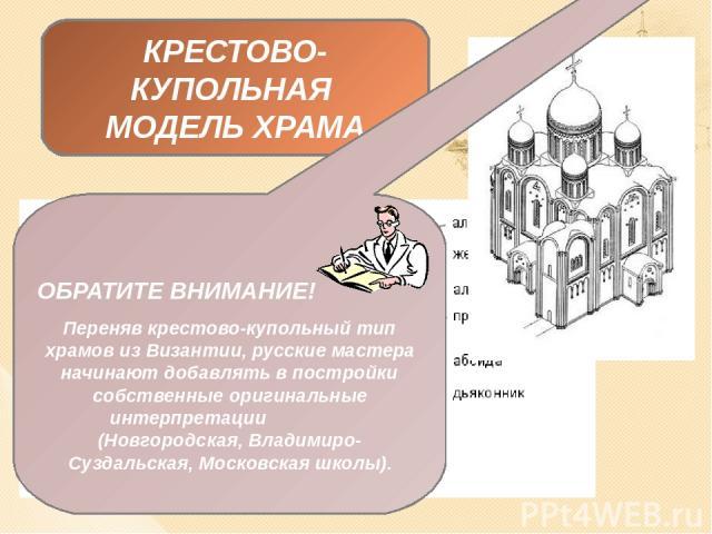 ВИЗАНТИЙСКИЙ СТИЛЬ (крестово-купольная модель храма) ОБРАТИТЕ ВНИМАНИЕ! С течением времени (XII – XV вв.) русский крестово-купольный храм принял самобытные черты и не являлся прямой копией византийских оригиналов. Поэтому, многие исследователи выдел…