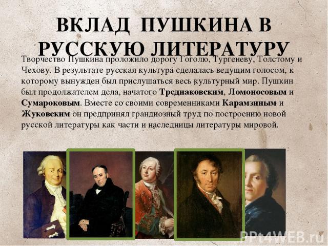 ВКЛАД ПУШКИНА В РУССКУЮ ЛИТЕРАТУРУ Творчество Пушкина проложило дорогу Гоголю, Тургеневу, Толстому и Чехову. В результате русская культура сделалась ведущим голосом, к которому вынужден был прислушаться весь культурный мир. Пушкин был продолжателем …