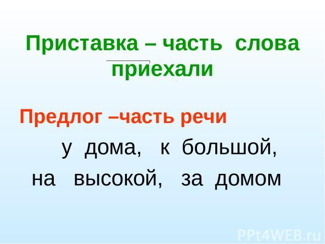 Приставка – часть слова приехали Предлог –часть речи у дома, к большой, на высокой, за домом