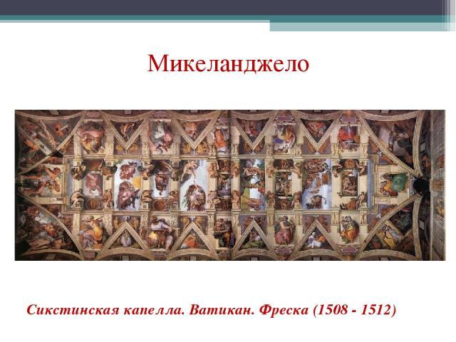 Микеланджело Сикстинская капелла. Ватикан. Фреска (1508 - 1512)