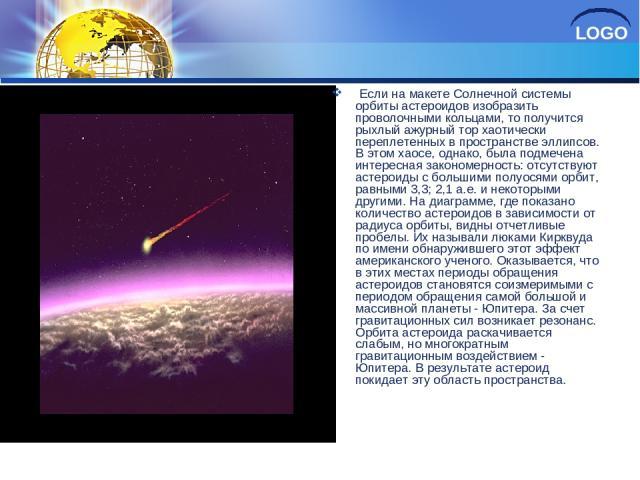 Если на макете Солнечной системы орбиты астероидов изобразить проволочными кольцами, то получится рыхлый ажурный тор хаотически переплетенных в пространстве эллипсов. В этом хаосе, однако, была подмечена интересная закономерность: отсутствуют астеро…